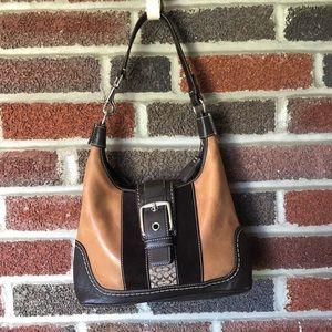 Coach tan & brown leather shoulder bag EUC